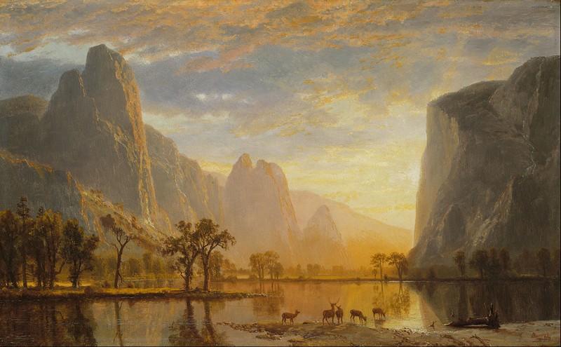 "ALBERT BIERSTADT. ""Valley of the Yosemite"". Óleo sobre cartón (1864)"