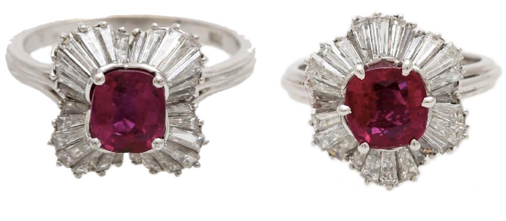 Links: WG-Ring mit facettiertem Rubin und Diamant-Trapezen Rechts: WG-Ring mit Rubin (wohl Siam, ca. 2,7 ct) und Diamant-Navettes