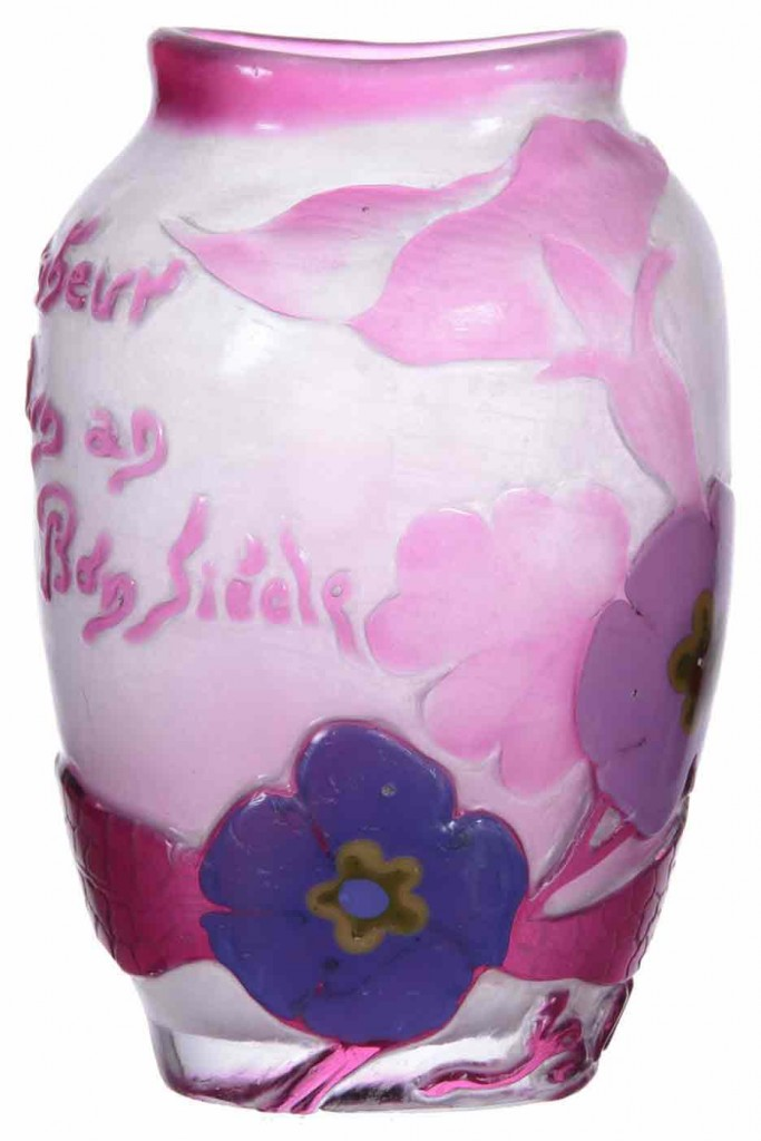 Gorgeous Galle marquetry vase