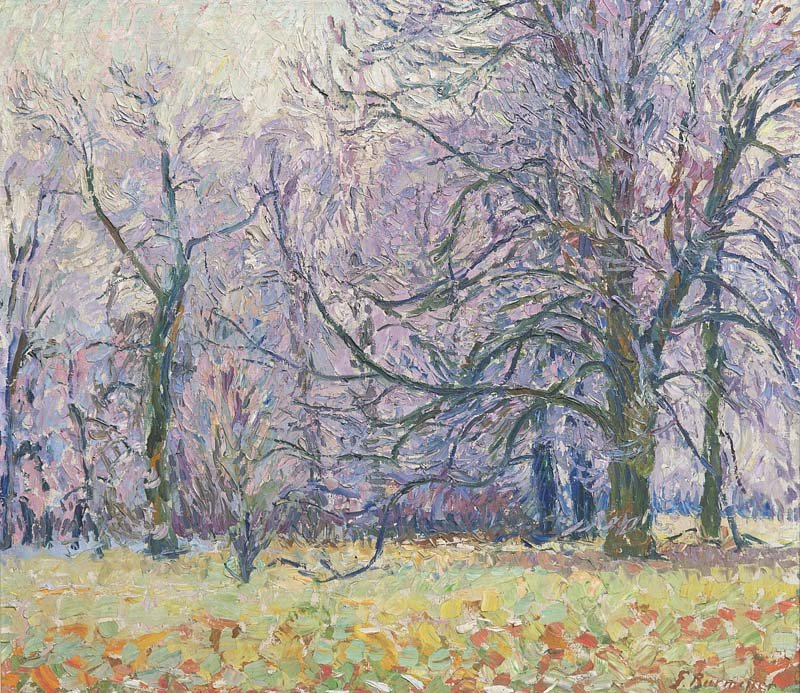 GEORG BURMESTER - Raureif nach Nebel, Öl/Lwd., 78 x 89 cm, betitelt und signiert, um 1910 Startpreis: 5.000-10.000 EUR