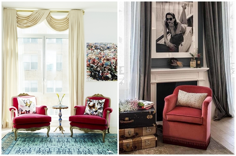 Left: Red chairs in a chic SoHo apartment. Photo via catalysticmedia.com. Right: his cherry red sofa was seen at Casa Decor 2018. Photo via Casa Decor.