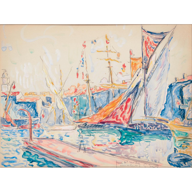 Paul Signac (1863-1935) Port, watercolour on paper; signed lower left , 23.5 X 31.5 CM