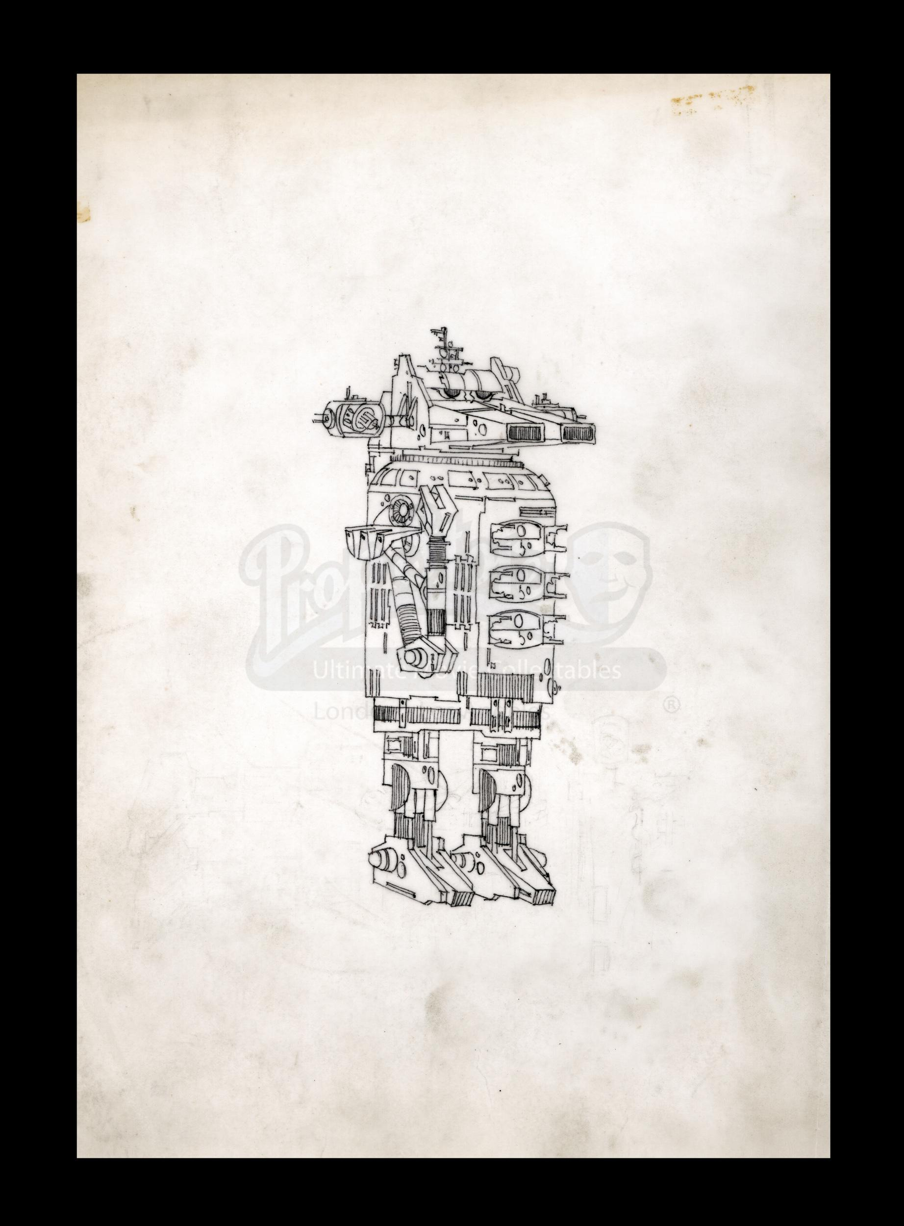 Hand-drawn Early Harry Lange Concept Design for Droid. Photo: Prop Store