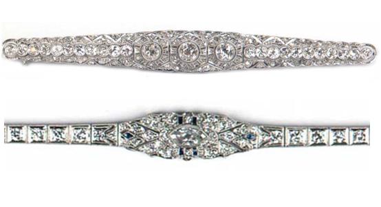 Oben: Art Déco-Nadel, wohl Platin, Altschliff-Diamanten (zus. ca. 4-5 ct) Limitpreis: 2.800 EUR Unten: Art Déco-Armband aus Weißgold mit Diamanten (zus. ca. 5 ct) und 6 Saphiren Limitpreis: 2.200 EUR