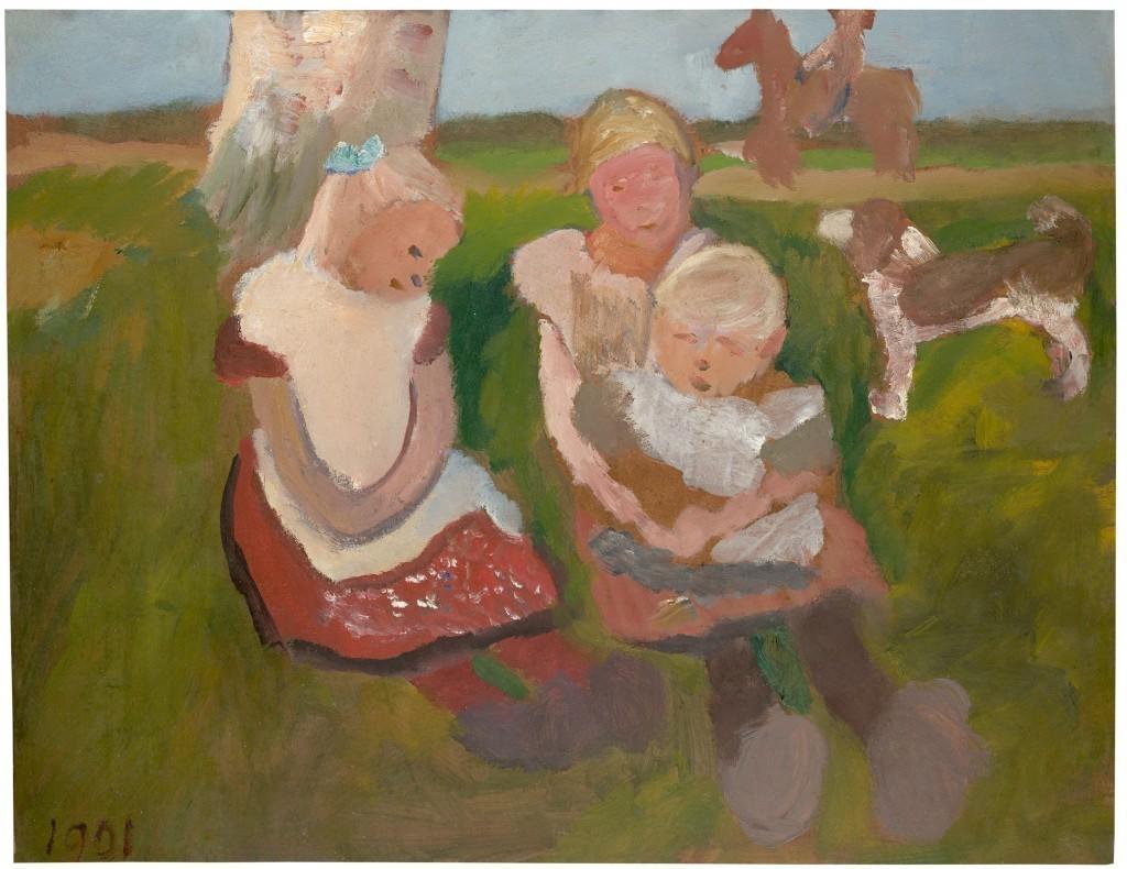 Paula Modersohn-Becker, « Trois enfants assis sur une colline avec un chien et un cheval », 1901, image ©Grisebach