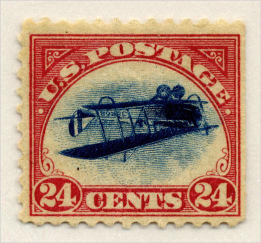 Hier steht die Briefmarkenwelt Kopf: Die Inverted Jenny ist eine US-amerikanischer Fehldruck von 1918