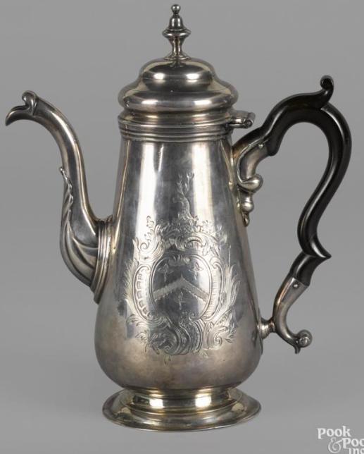 Philadelphia silver coffee pot, ca. 1755, bearing the touch of Elias Boudinot