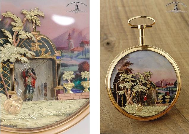 """DU BOIS ET FILS (zug.) - Taschenuhr mit Automat """"Der Wandersmann mit seinem tanzendem Hund"""", GG, ca. 1790"""