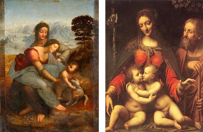Links: Leoardo da Vinci, Anna selbdritt, 1508-10 Rechts: Bernardino Luini, Die Heilige Familie mit dem Johannesknaben, 1. Hälfte 16. Jh.