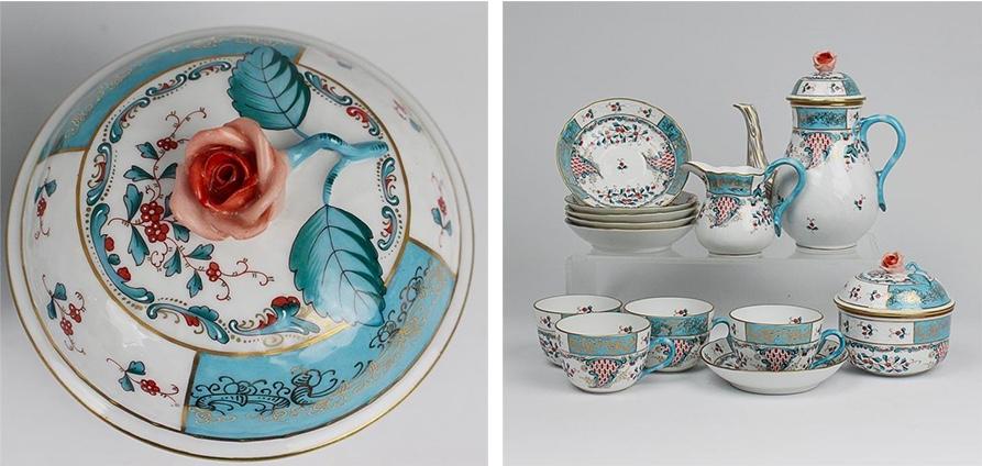 """HEREND - Mokkaservice für 6 Personen mit dem Dekor """"Tupini, Corne d'abondance"""", Entwurf 1870"""