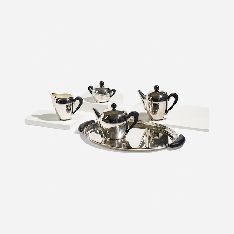 CARLO ALESSI, Bombé tea and coffee service, 1941. Estimated at $$1,000– $1,500. Wright