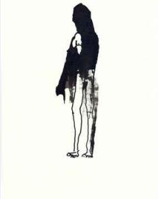 La femme tâche, 2008. Encre de Chine, acrylique et bâton sur papier. 27 x 21 cm. Signé au dos.
