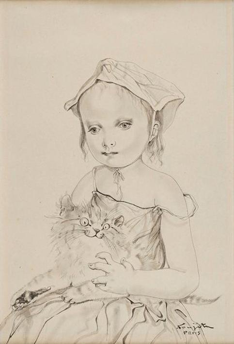 Léonard Tsuguharu Foujita, Fillette au chat, 1951, image ©Rossini