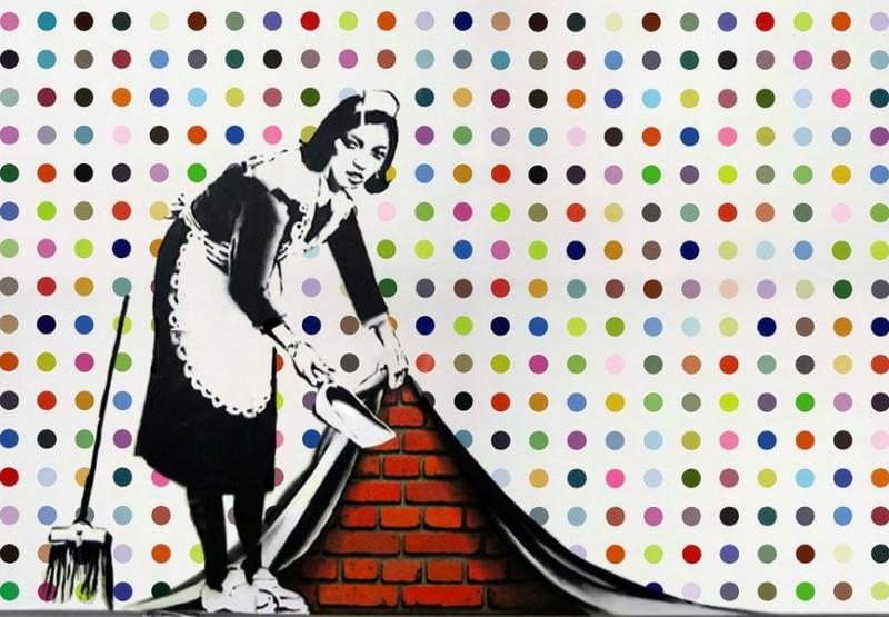 """""""Keep it Spotless"""", Banksys och Damien Hirst"""