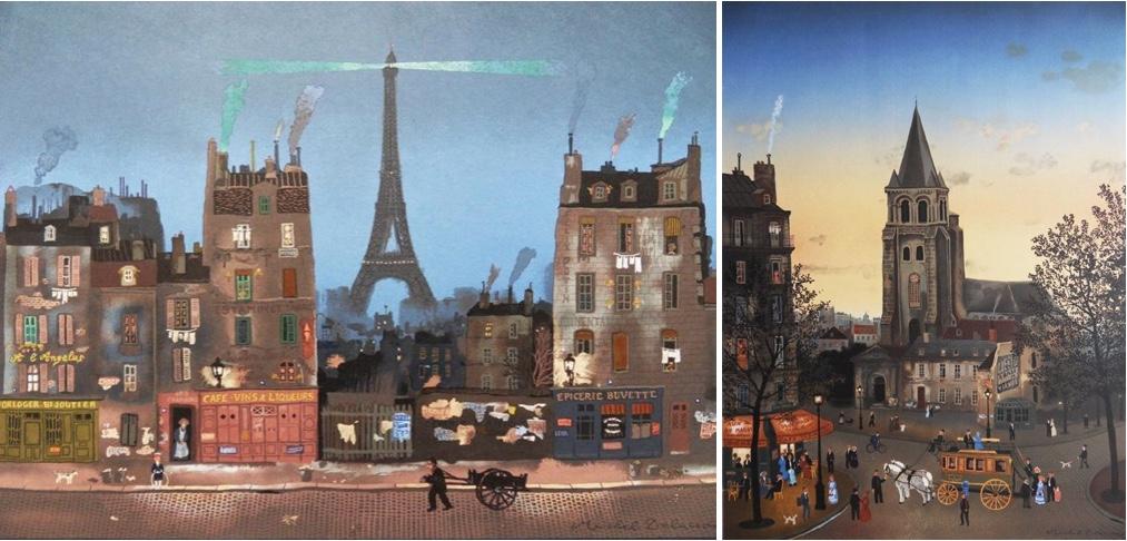 MICHEL DELACROIX (*1933) - La Tour Eiffel & Saint Germain des Prés, 2 Lithografien, signiert, 1981/82