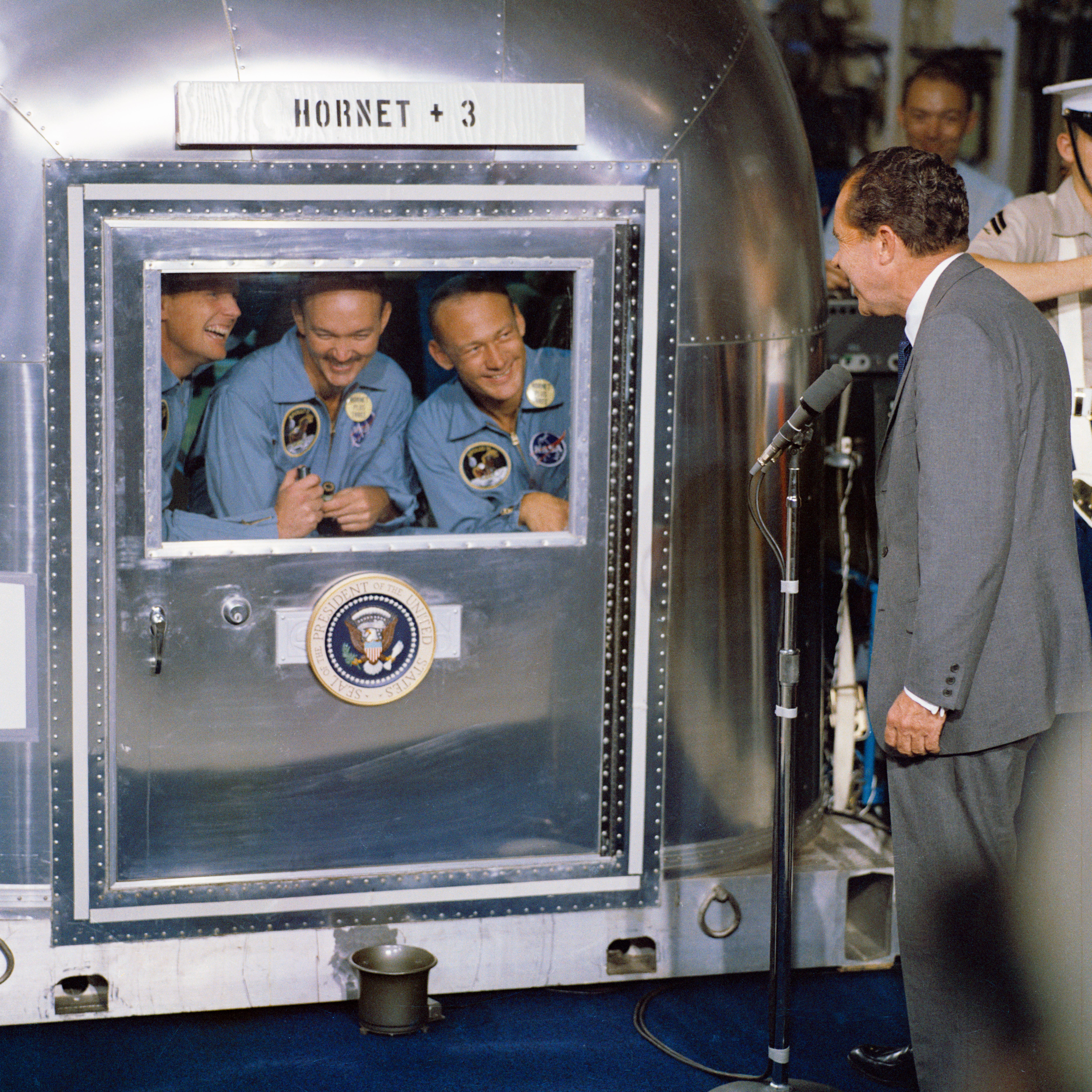 President Nixon välkomnar besättningen på Apollo 11 hem. Bild: Wikipedia