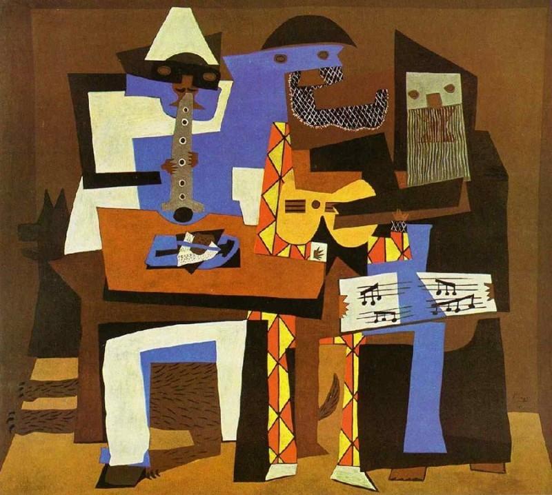 """""""Three Musicians"""", år 1921. Foto: pablopicasso.org."""