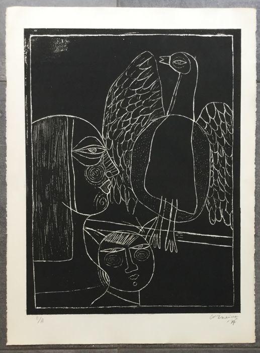 Corneille, L'oiseau majestueux, gravure signée, 1977