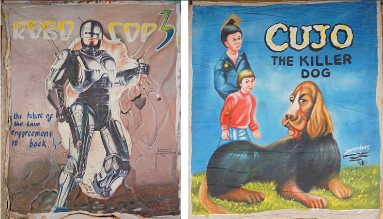 Links: CLASSIC ART, OPP. NASSER AMAKUM - Robo Cop 3, the future of law enforcement is back, Öl/Lwd., signiert, 1990er Jahre Rechts: LEONARDS ART - Cujo the Killer Dog, Öl/Lwd., signiert, 1990er Jahre