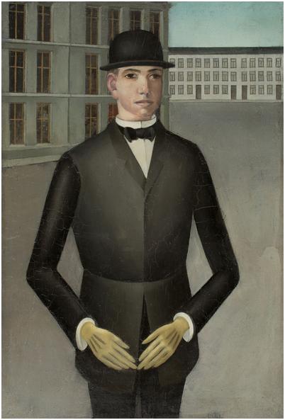 """ANTON RÄDERSCHEIDT (1892 - Köln - 1970) - """"Junger Mann mit gelben Handschuhen"""", olja, 27,4 x 18,6 cm, 1921. Utropspris: 1,6 - 2,2 miljoner kronor."""