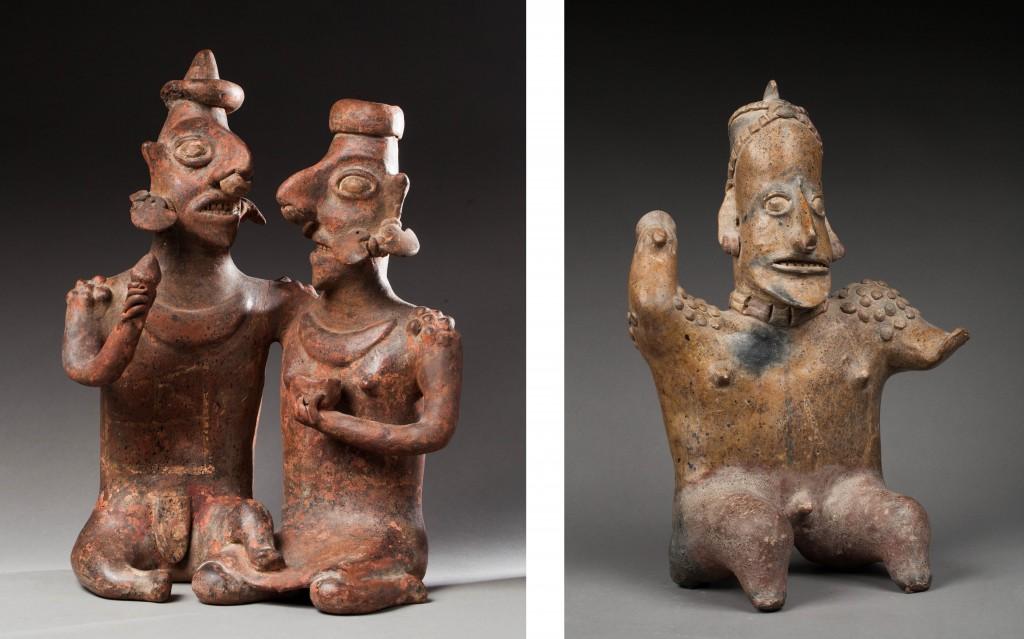 Gauche : Couple assis - Nayarit, San Sebastian Mexique occidental, 100 av. - 250 / Droite : Chaman Musicien assis - Jalisco, Mexique occidental, 100 av - 250 ap. JC.
