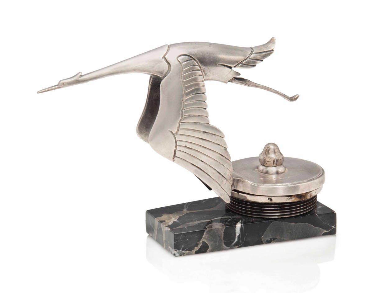 Cigogne pour Hispano Suiza en bronze argentée, image ©Christie's