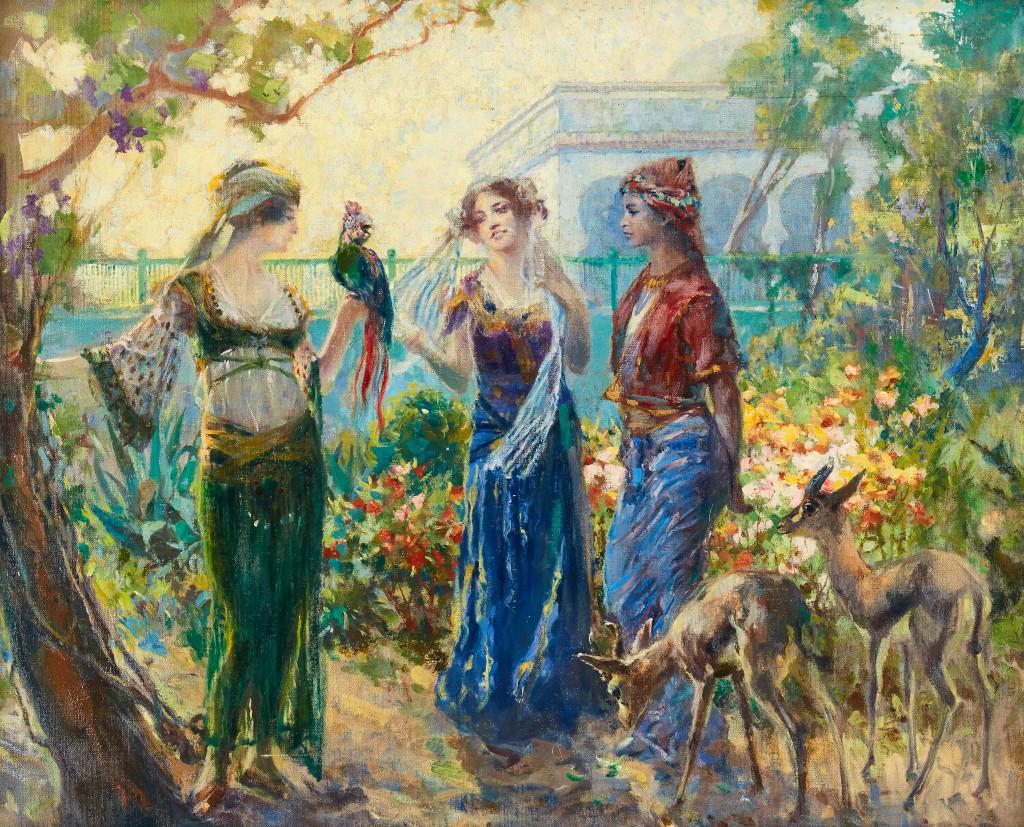 """FERDINAND MAX BREDT (1860 Leipzig - 1921 Ruhpolding) attr. - """"Blumengruppe aus dem Orient"""", Öl/Lwd., monogrammiert"""