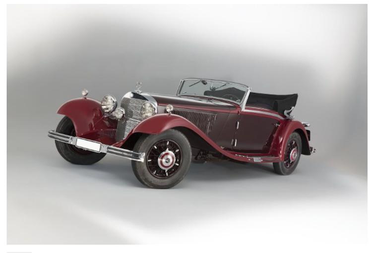 1934 Mercedes Benz 380 K Cabriolet A. En av 1930-talets mest prestigefyllda Mercedes Benz. Producerades endast i cirka 150 stycken exemplar, varav endast 16 stycken av dessa var Cabriolet A:s. Endast 3-4 stycken tros finnas kvar. Utgångspriset är 12 300 000 SEK. Artcurial.