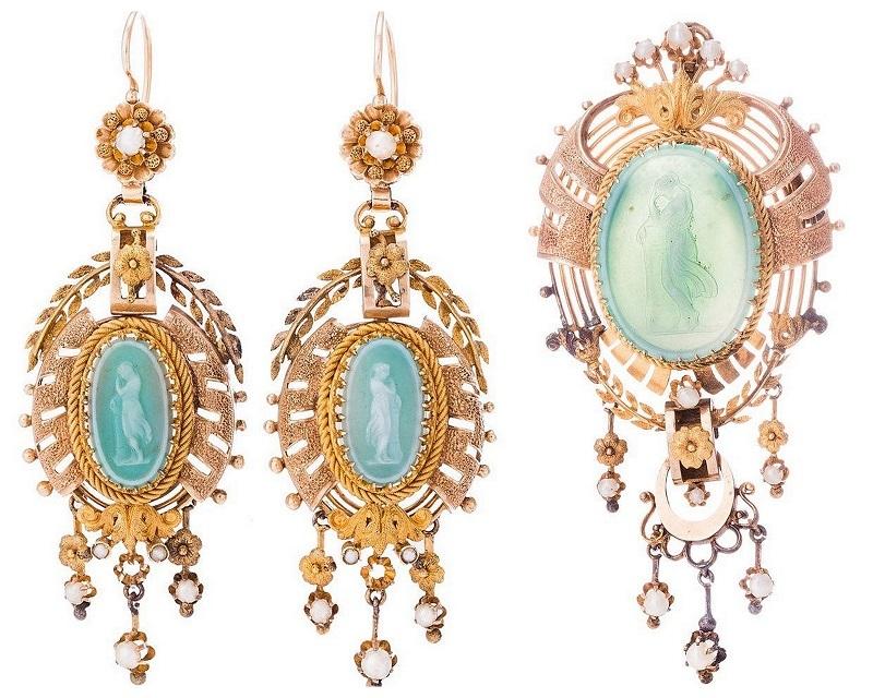 Broche et pendants d'oreilles (XIXe siècle)