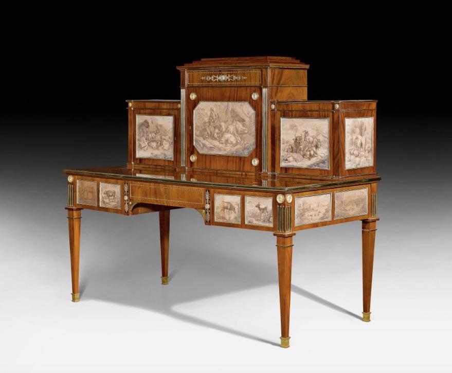 JOHANN Klinckerfuß, Bureau royal en acajou avec dessins à l'encre, 162 x 80 x 140 cm, Stuttgart, 1800 Estimation: CHF 120000-200000 (EUR 111110 à 185190)