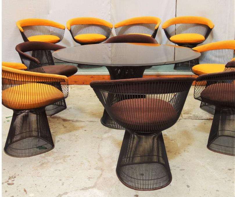 WALTER PLATNER - Knoll-Serie, Esstisch mit Stühlen Unterer Schätzpreis: 5.000 EUR