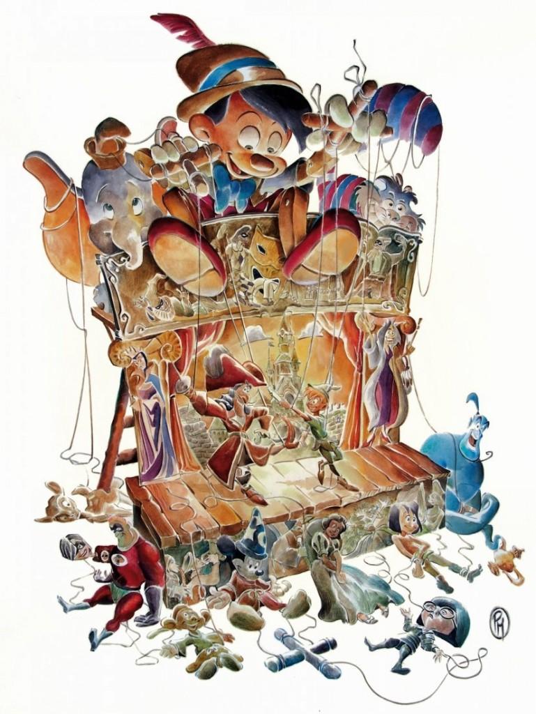 PAOLO MOTTURA - The great fairy tales of Walt Disney, original illustration, watercolor on thin cardboard Estimate: 800-1800 EUR