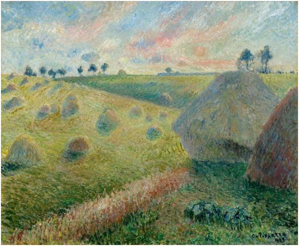 Camille Pissarro (Charlotte Amalie 1830 - 1903 Paris) Paysage avec meules. 46 x 55 cm, signerad och daterad, 1883. Utropspris: Schätzpreis: 800.000-1.400.000 CHF (740.740-1.296.300 EUR)