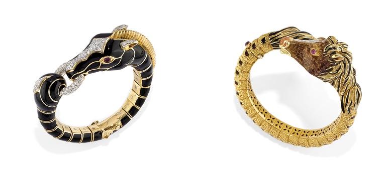 Links: DAVID WEBB - Armreif aus Gold, Emaille, Diamanten und Rubinen Rechts: D'AMBROSIO - Armreif aus Gold, Emaille, Diamanten und Rubinen