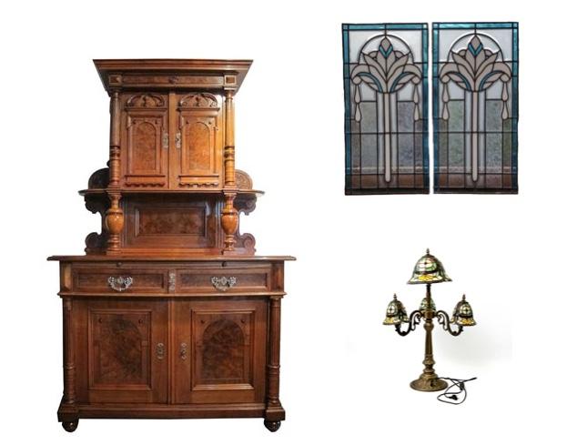 Links: Gründerzeit-Kredenz, Nussbaum | Ehrl Oben: Paar Buntglasfenster im Art Déco-Stil, Belgien 20. Jh. | Catawiki Unten: Tischlampe im Tiffany-Stil | Eppli