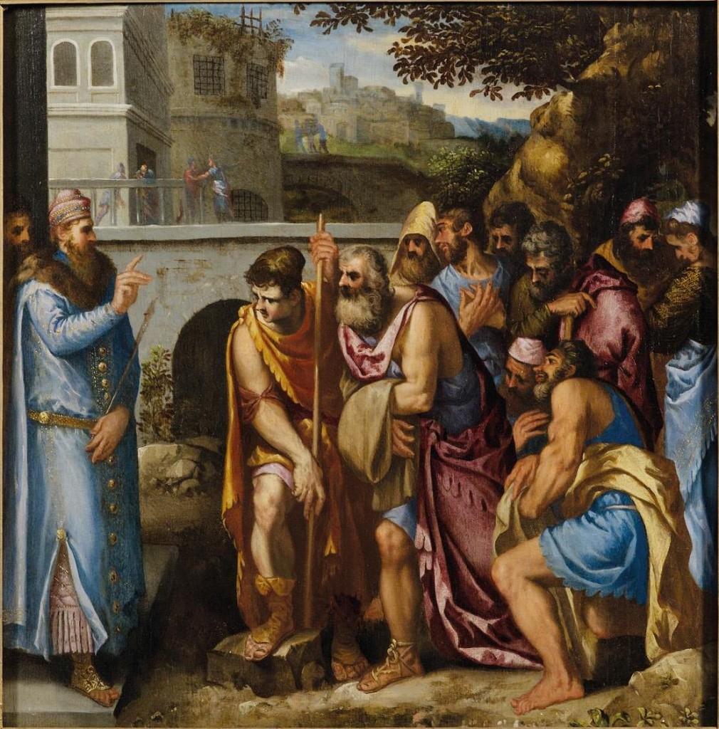 GIUSEPPE PORTA gen. IL SALVIATI (Castelnuovo di Garfagnana 1520-Venedig 1575) - Josef empfängt seine Brüder in Ägypten, Öl/Holz, 62 x 62 cm Schätzpreis: 25.000-35.000 EUR
