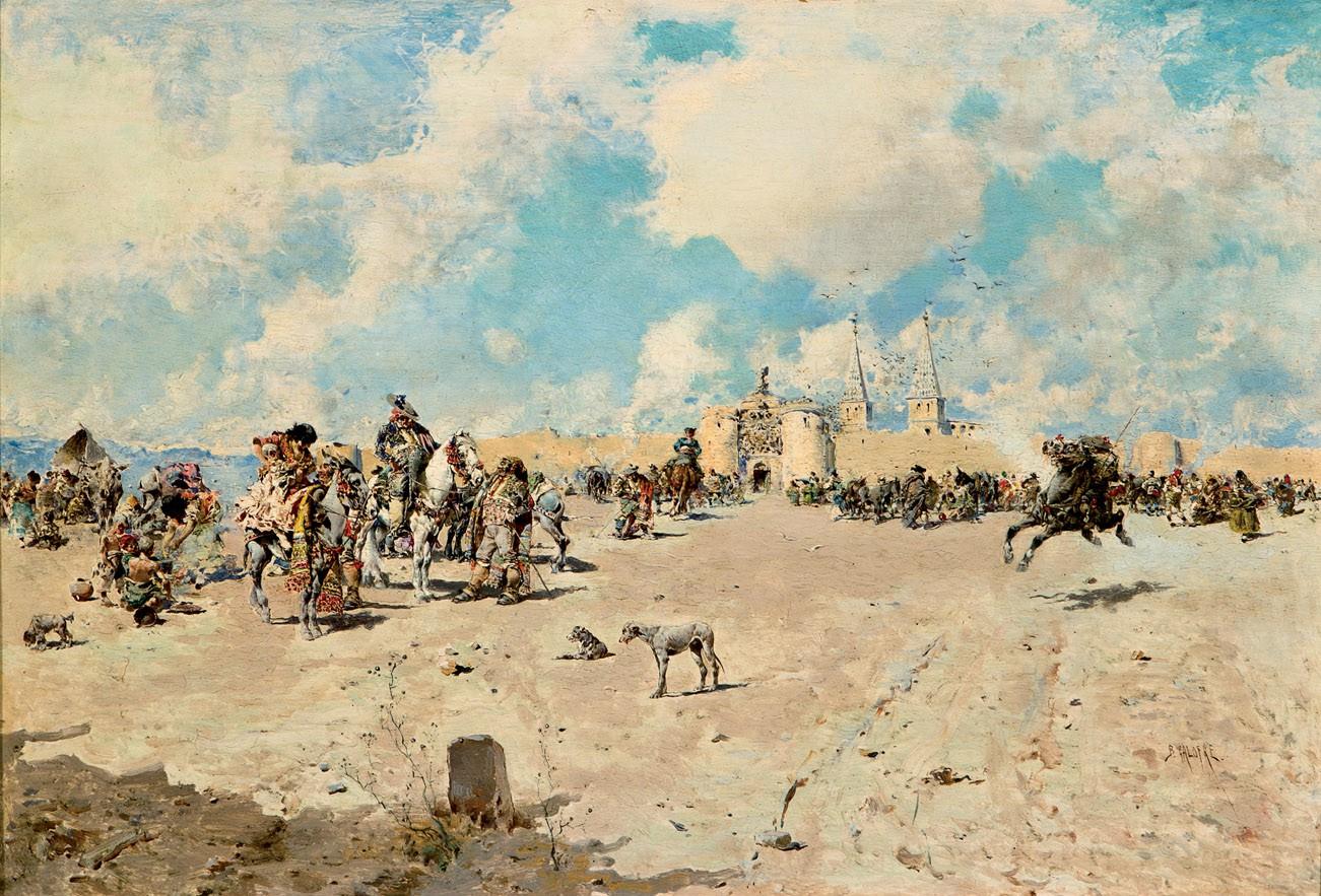 BALDOMERO GALDOFRE (1849-1902) - Caballistas descansando, Öl/Holz, signiert