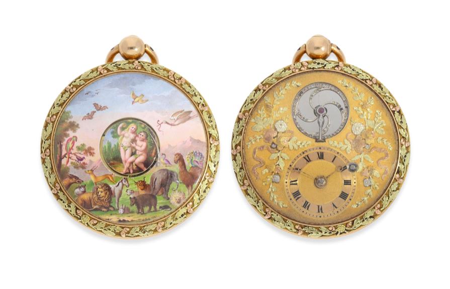 Montre de poche avec un double automate et une peinture sur émail, probablement à Genève, vers 1810, image © Cortrie