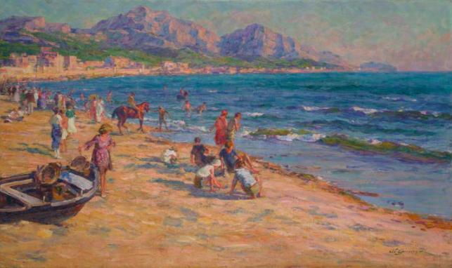 Adolphe Louis Gaussen, (1871-1954), « La plage du prado à Marseille », image ©HVMC