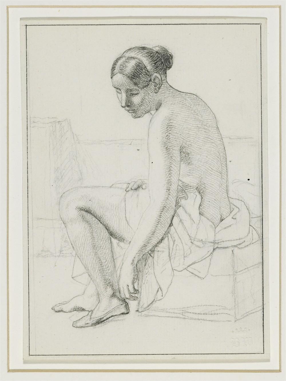 C. W. ECKERSBERG - Nackte Frau zieht ihre Pantoffeln an, 1843