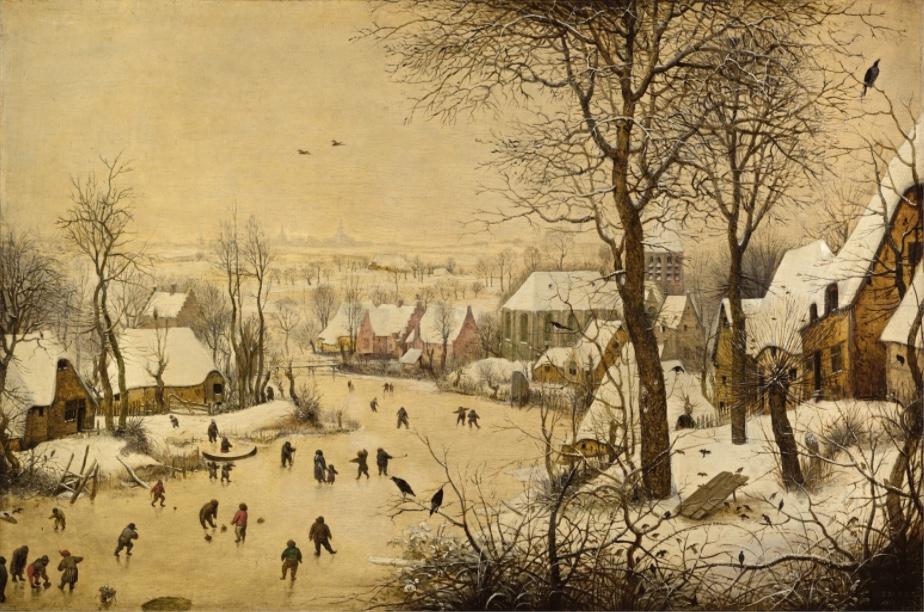 PIETER BRUEGHEL D.Ä. (um 1525/30-1569) - Winterlandschaft mit Eisläufern und Vogelfalle, Öl/Eichenholz, 1565 Brüssel, usées royaux des Beaux-Arts de Belgique