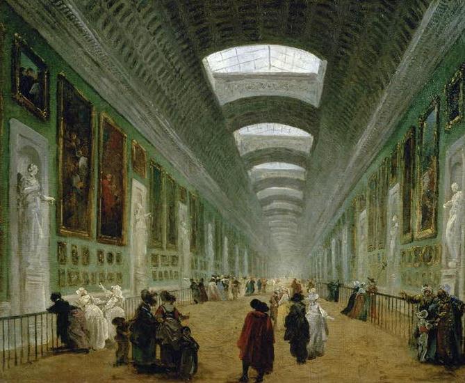 Projet d'aménagement Grande Galerie, 1789 H.Robert  Image via Le Louvre