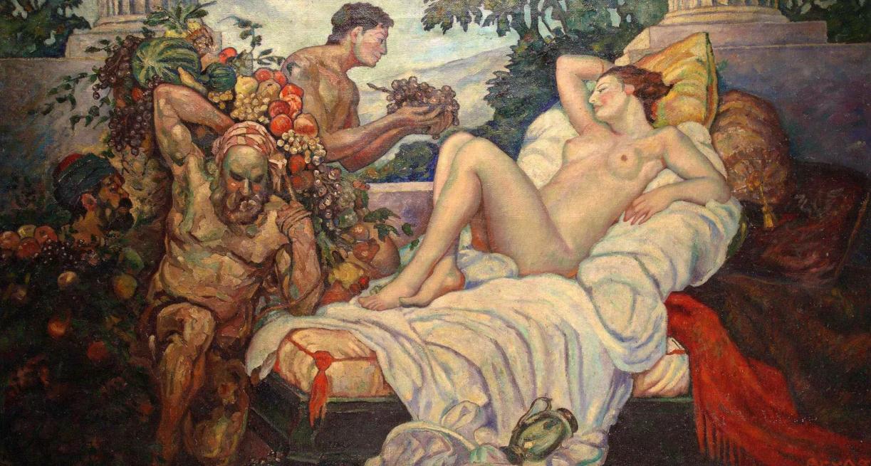 Emil Bruno Allégorie de l'abondance, 1928 Grande huile sur toile et son esquisse Accademia Fine Art