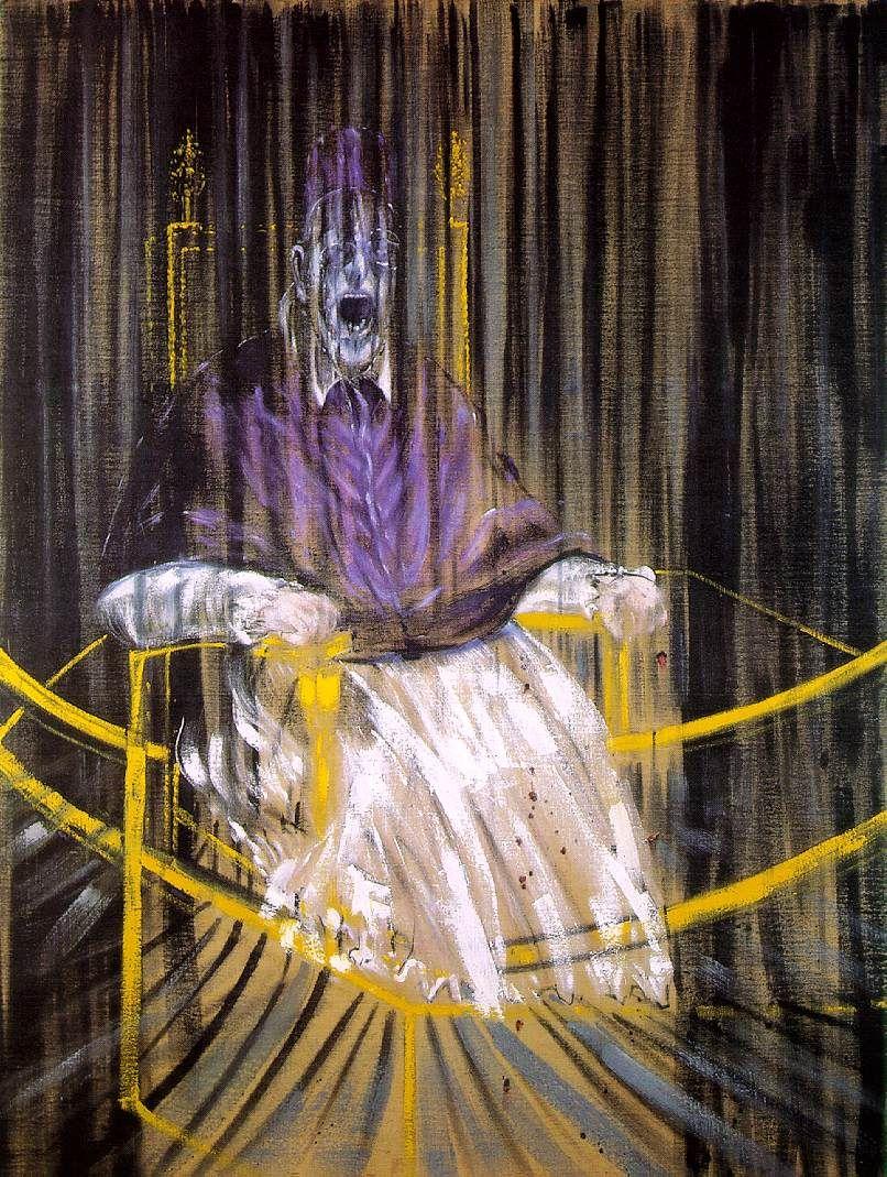 Francis Bacon, After Velazquez Papa Innocenzo X, 1953, immagine via Wikipedia