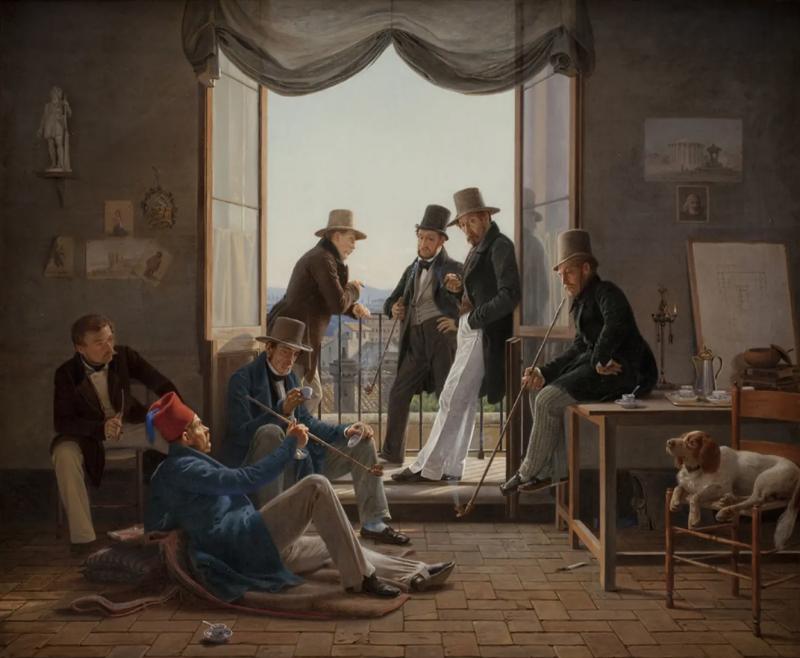 Constantin Hansens Et selskab af danske kunstnere i Rom, år 1837. Verket är med på Nationalmuseums utställning Dansk Guldålder. Foto: Statens Museum for Kunst.