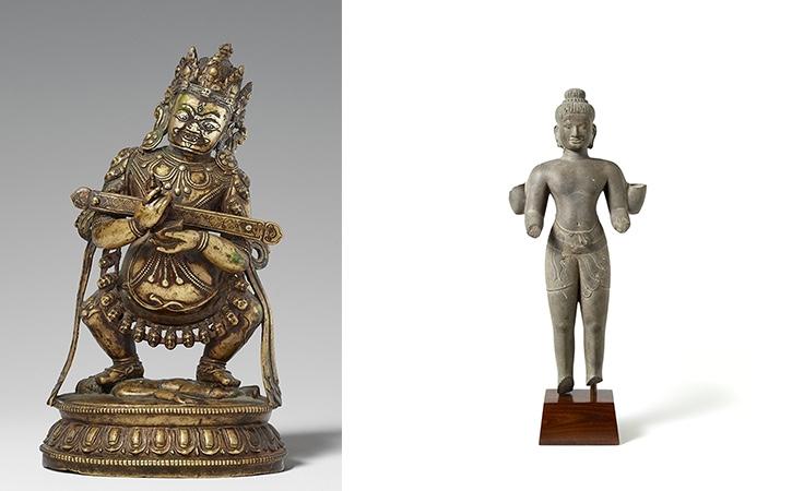 Links: Der bronzene Mahakala Panjara aus Tibet konnte seinen unteren Schätzpreis beinahe verzehnfachen. Rechts: Highlight aus Südostasien war der vierarmige Vishnu im Baphuon-Stil, der im 11. Jahrhundert in Kambodscha aus Sandstein geformt worden war.