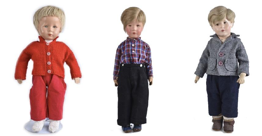 Links: Junge Mitte: Junge Friedebald, Puppe Nr. VIII Rechts: Junge Friedebald, VEB Bad Kösen, ab 1950