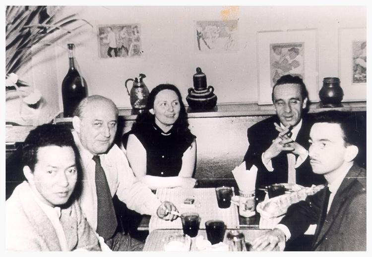 Wifredo Lam, Benjamin Péret, Eva Slucer, Eugenio Granell, Rafael Ferrer à Paris, 1954