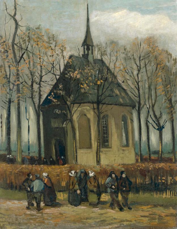 """Vincent van Gogh """"Sällskap lämnar kyrkan i Nuenen"""" 1884-85."""