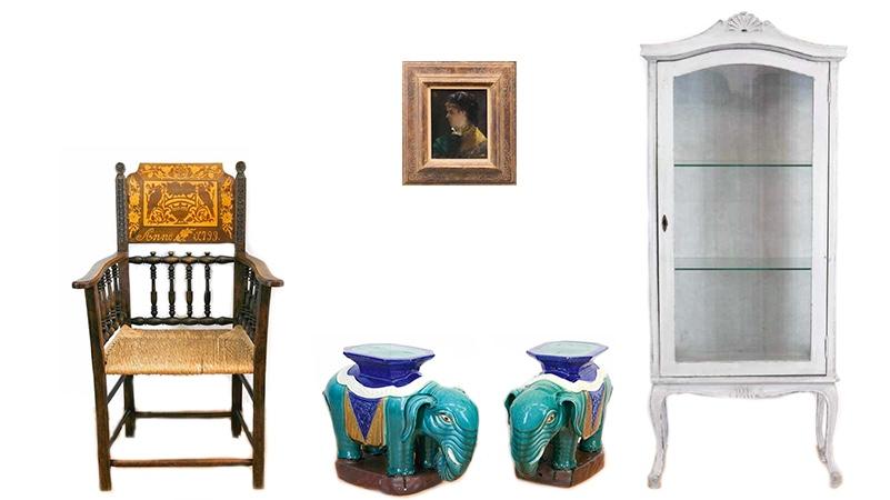 Links: Hochzeitsstuhl, Nussbaum, Binsengeflecht, datiert 1799 Oben: ALFRED EMILE LÉOPOLD STEVENS (1823-1906) - Portrait einer Dame mit Fächer, Öl/Holz, monogrammiert Unten: Paar Elefanten aus bemalter Keramik Rechts: Vitrine, weiß gefasst, um 1950
